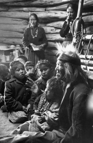 A Bavoho grandfather tells legends to children