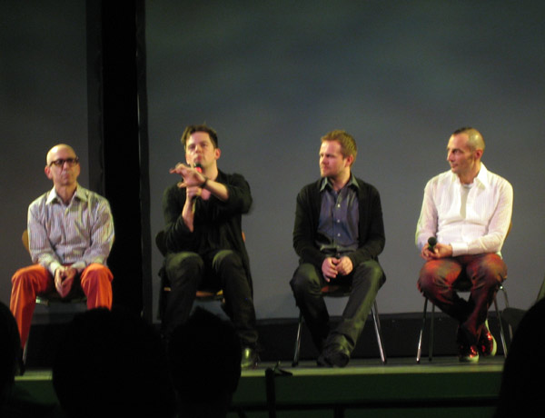 From left to right, scent opera creator Stewart Matthew, composers Nico Muhly and Valgier Sigurdsson and perfumist Christophe Laudamiel discuss their work