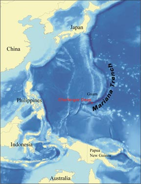 The Challenger Deep in the Marianas Trench is located near the island of Guam in the west Pacific. It is the deepest abyss on Earth at 11,000 metres. At that depth, pressures reach 1,100 times that at the surface