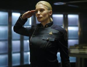 Katee Sackhoff as Lieutenant Kara 'Starbuck' Thrace