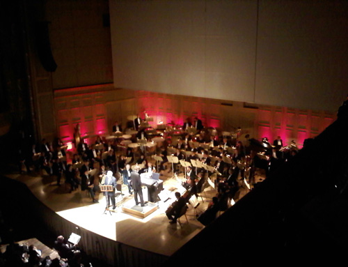Apollo astronaut Buzz Aldrin (centre stage) provided narration to Gustav Holst's 'The Planets' on Thursday