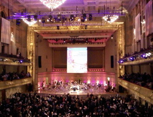 The performance took place in Boston's Symphony Hall
