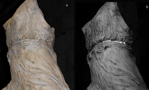 The goddess Iris under normal lighting (left): no painted colour is visible. In the infrared image (right), her belt glows with the traces of Egyptian blue paint