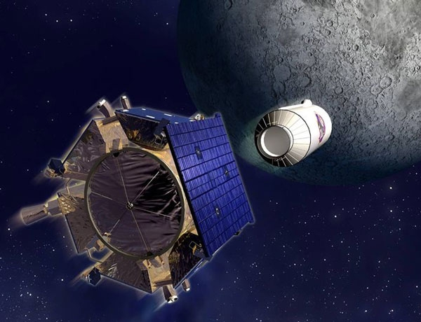 NASA's LCROSS mission will collide a spent rocket stage with a crater on the moon's south pole to look for evidence of water (Illustration: NASA)