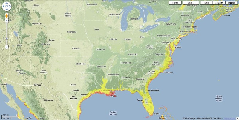 Predicted Effects On Us Coastline Assuming Sea Level Rise Of 2 Metres Red And