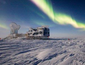 The South Pole Telescope at the Amundsen-Scott South Pole Station in Antarctica. Antarctica has possibly the clearest skies on Earth