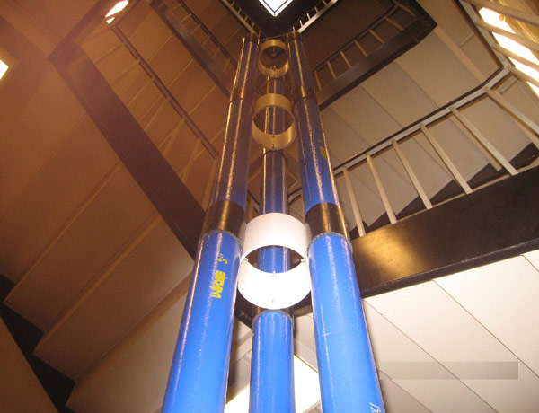 A 7-metre-tall demonstration tower stands in a stairwell