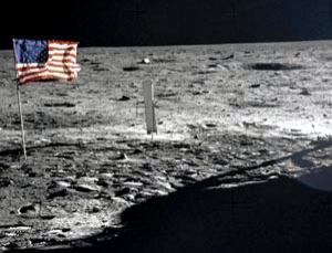 Neil Armstrong touching down on the lunar landscape