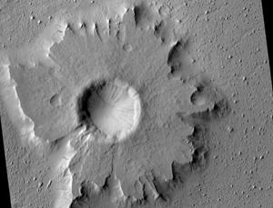 Martian pedestal craters, like this one in Amazonis Planitia, may have formed in regions that used to boast thick layers of ice-rich soil