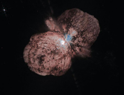 A massive star that exploded when the universe was just 3 billion years old has been found. It is classified as a type IIn supernova, which is caused by a star that belches out large quantities of gas before its final explosion. The fitful Milky Way star Eta Carinae (above) jettisoned the twin Homunculus clouds in 1843 and is expected to meet its end as a type IIn supernova