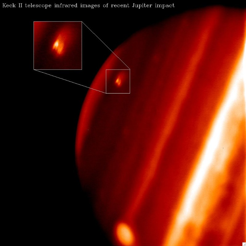 Infrared observations taken at the Keck II telescope in Hawaii reveal a bright spot where the impact occurred. The spot looks black at visible wavelengths