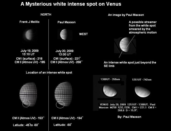 A new, bright spot in the clouds of Venus was found by amateur astronomer Frank Melillo on 19 July (Illustration: Melillo/Maxson/ESA/University of Wisconsin-Madison/ALPO)
