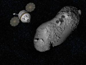 Astronauts could travel to an asteroid inside the Orion crew capsule that NASA is developing for moon missions, according to a previous NASA study (Illustration: NASA/JAXA)