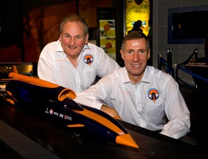 Team members Richard Noble and Andy Green with a model of Bloodhound SSC (Image: Bloodhound SSC