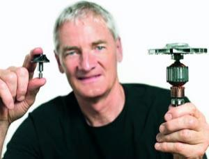 James Dyson highlighting the simplicity of the new motor compared to a more complex DC motor
