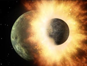 Debris from a collision similar to the one that created Earth's moon has been found orbiting the nearby star HD 172555 (Illustration: NASA/JPL-Caltech)
