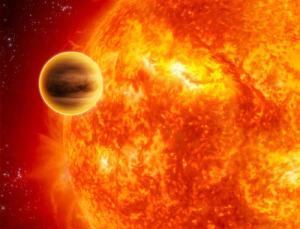 A near-collision with another planet may have caused a bloated planet called WASP-17b to orbit its star backwards (Illustration: ESA/C. Carreau)
