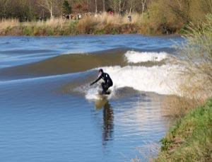 Riding the wave.  The Severn bore's bumper tide is caused by the moon