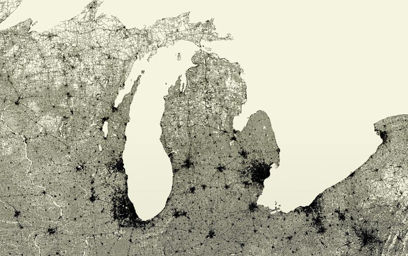 The roads spreading out from the dense conurbations of Milwaukee, Chicago, Detroit and Cleveland make up the familiar outline of the Great Lakes
