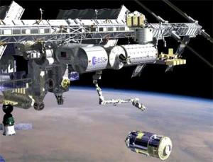 Artist's impression of HTV approaching ISS