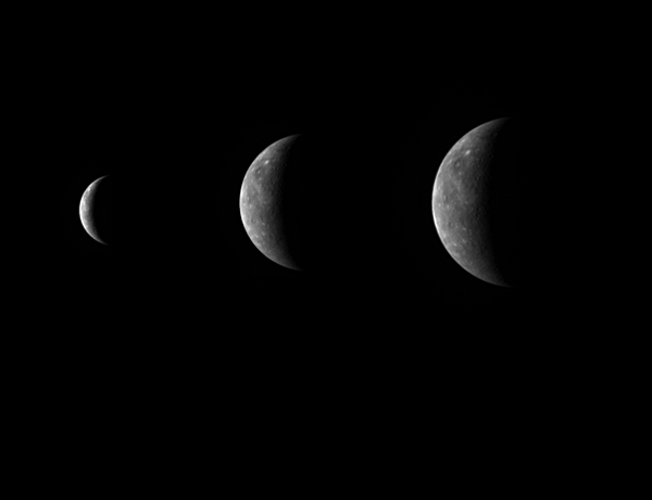 Messenger snapped these images over a span of four days as it approached Mercury for its third and last flyby on Tuesday. The image on the far right was captured on Monday, when Messenger was about 542,000 kilometres away from the planet's surface (Images: NASA/JHU/APL/CIW)