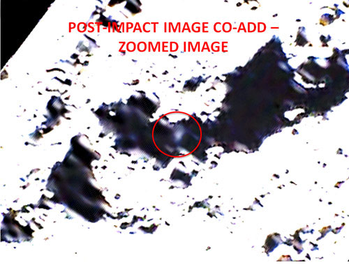 This image, made from three snapshots taken by the trailing spacecraft's visible camera 15 seconds after impact, shows a plume about 6 to 8 kilometres wide. Infrared cameras on the spacecraft suggest the impact gouged out a crater 28 metres across.