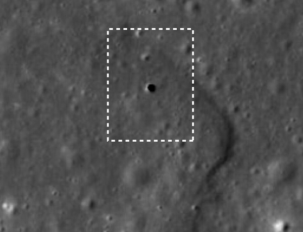 This 65-metre-wide hole in the lunar surface extends at least 80 metres down and could be an opening into a larger lunar cave