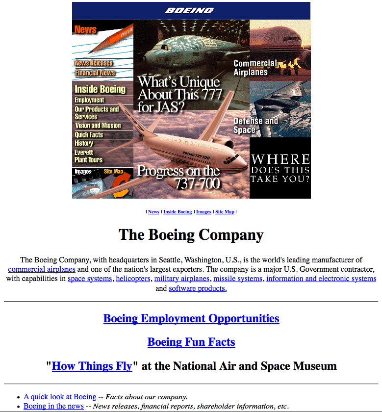 19 October 1996: Plane maker Boeing had what was, for the time, quite a cool picture-led home page