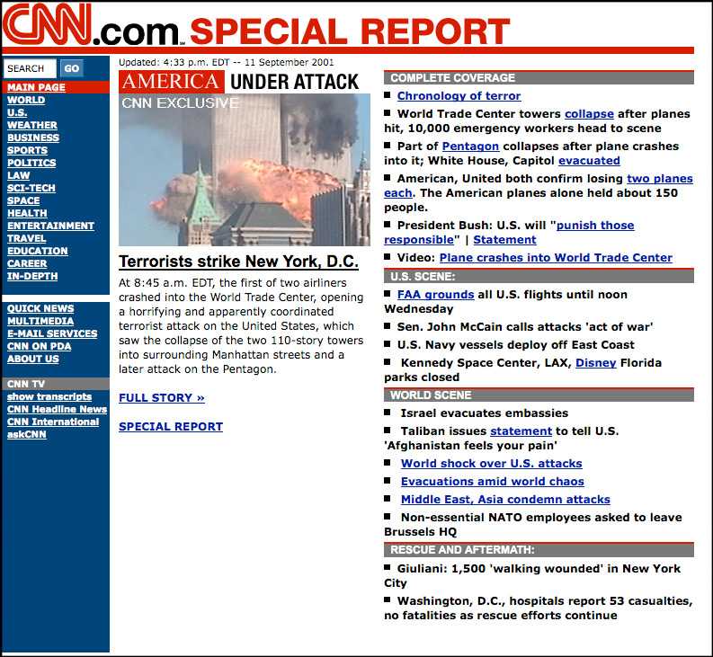 20 March 2003: CNN on the World Trade Centre attacks of 2001