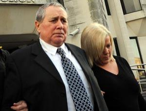 Brian Thomas leaves Swansea Crown Court after being found not guilty of murdering his wife whilst sleepwalking