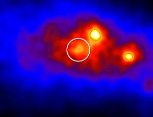 Cygnus X-3 (circled), which contains a young star orbiting a black hole or neutron star, occasionally generates high-energy gamma rays