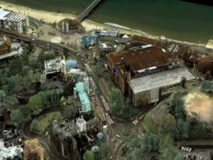 This realistic 3D map is made up from different layers incorporating 3D laser data and satellite imagery