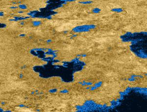 Titan's north polar region is a land of lakes - researchers hope to one day use landers to study the lakes' chemistry and interaction with the atmosphere