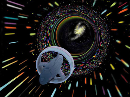 Wormholes are distortions in the fabric of space that can link two distant locations, sucking in objects at one end and spitting them out at the other (Illustration: NASA/Les Bossinas)