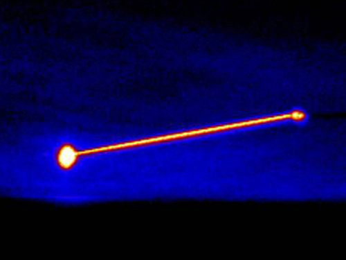 The laser works in testing but is too weak to be effective