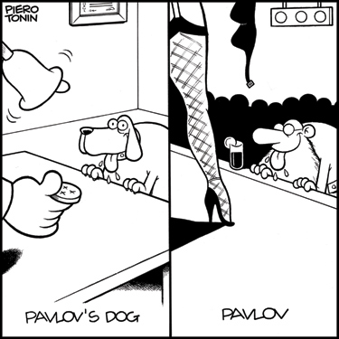 All jokes rely on some kind of incongruity that can be resolved to a greater or lesser degree - a process that is reflected in a region of the brain known as the temporoparietal junction. This cartoon is an example of a straighter, more resolvable joke, where the incongruity (the replacement of Pavlov's dog with a salivating Pavlov) is very easily explained