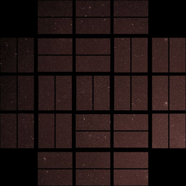 Kepler uses 42 CCDs (rectangles), paired into square-shaped modules, to search for dips in starlight due to alien planets