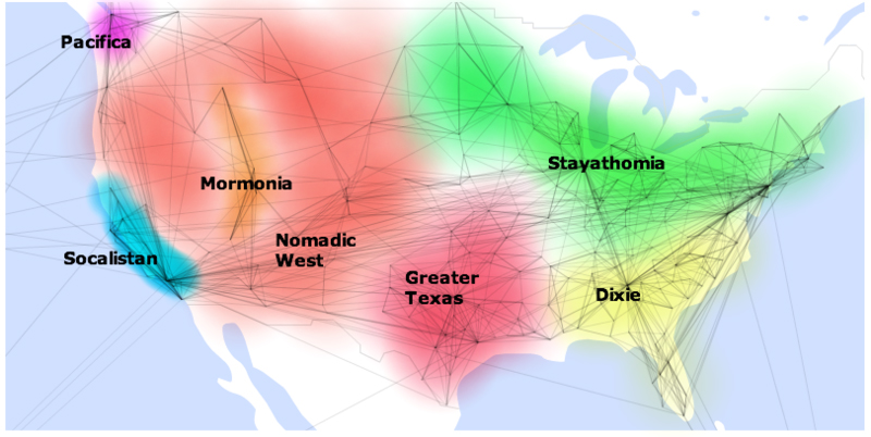 This visualisation created by Pete Warden using Facebook data, shows US locations with connections drawn between places that share friends. For example, a lot of people in LA have friends in San Francisco, so there's a line between them. Find out more