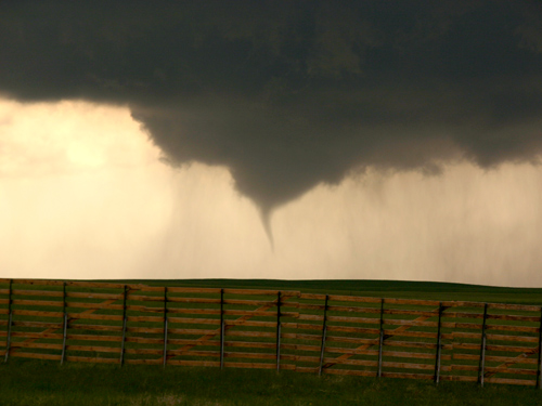 The tornado that VORTEX2 caught on 5 June 2009, as it formed over Goshen County, Wyoming. The tornado provided by far the best tornado data ever recorded, according to the researchers