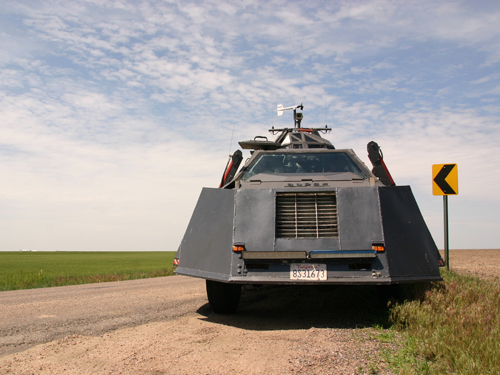 The Tornado Intercept Vehicle, designed to park up directly in the path of a tornado. It is equipped with sensors, is specially armoured and has panels around the body which are lowered to eliminate air gaps under the vehicle's body – this helps keep it stable in high winds