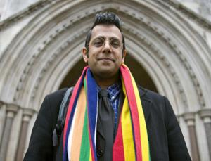 Simon Singh outside the High Court, London