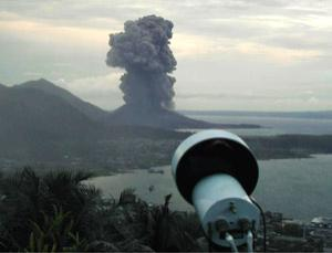 This ash sensor, being ground-tested on an erupting volcano in Papua New Guinea in 2003, could be developed to allow planes to spot a safe path through the air