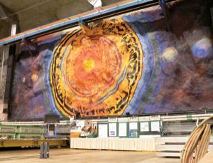 Neutrino physics inspired Gianetti's massive mural