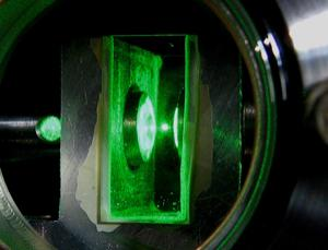 A 5-micrometre-wide glass bead is trapped in mid-air with a laser