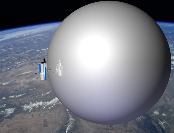 A giant balloon could drag satellites and space telescopes into Earth's atmosphere at the end of their lives (Illustrated image: Global Aerospace Corporation/NASA)