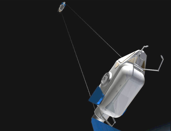 Two spacecraft could be tied together with a tether and set rotating, simulating gravity for crews inside