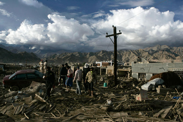 Leh on 7 August, after a night of flash floods and mud slides