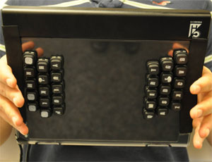 RearType prototype back, with keys in rotated qwerty layout (fingers lifted from home keys for better view)