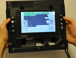 RearType prototype front, with thumb buttons, showing study software including semi-transparent visualisation (the 'h' key has just been pressed)