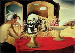 Slave Market with the Disappearing Bust of Voltaire. 1940 (Oil on Canvas)/Salvador Dali (1904-89)/Salvador Dali Museum/St. Petersburg, Florida, USA/(C)DACS/The Bridgeman Art Library)